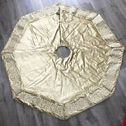 Frontgate Holiday Collection Champagne Embellished Border Christmas Tree Skirt