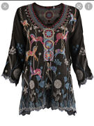🌹nwt Johnny Was Embroided Oversized Horses Carousel Blouse Top In Xs Will Fit M