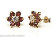 9ct Gold Garnet And Cz Studs Cluster Earrings Made In Uk Gift Boxed