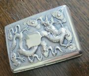 Antique Chinese Export Solid Silver Cigarette/card Dragon And Bird Scene 66.7 G.