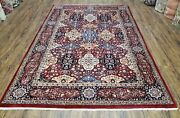 Vintage Indian Area Rug Hand-knotted Wool Carpet Red Blue Indo Kirman 6x9 Carpet