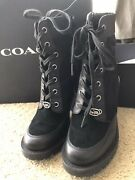 Coach Womens Hedy Black Leather Combat Boots Shoes Size 7b Pre-owned