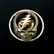 Grateful Dead Pin Vintage Steal Your Face Bolt Gold Black Badge Gdm Early 1990and039s