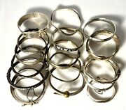 Sterling Silver Bracelet Bangle Lot Hinged Buckle Mexico 340 Grams Not Scrap