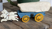 Vintage Cast Iron Blue Covered Wagon Pulled By White Horses