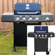 Gas Grill Four Burners Side Burner Propane Stainless Steel Cast Iron Grates Blue