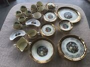 Crest O Gold Sabin Plates Bowls Cups 50 Pc Warranted 22k Gold Courting Couple