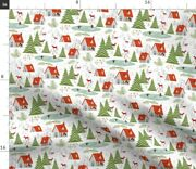 Pond Ice Skate Winter Deer Forest Snow Trees Spoonflower Fabric By The Yard