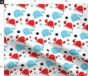 Nautical Whale Stars Celestial Sky Blue Red Cute Spoonflower Fabric By The Yard