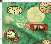 Clocks Hands Numbers Gear Emerald Green Vintage Spoonflower Fabric By The Yard