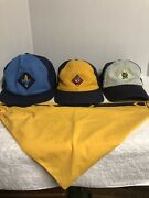 Bsa Boy Scout Hats Caps Webelos Wolf And Bear And Wolf Scarf . See Pics For Sizes