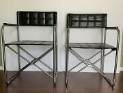 2 Vintage Mid Century Folding Directors Chairs Quilted Black Leather Chrome