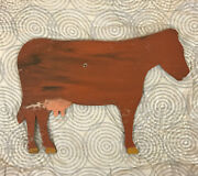 Vintage Vermont Primitive Hand Painted Outsider Art Dairy Cow Wood Farm Sign