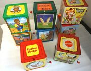 8 Tin Music Jack In The Boxes Some Classic Vintage Mattel Schylling - Working
