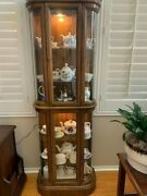Antique Tall Solid Wood China Cabinet Wood With Curved Glass, American Made
