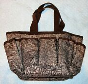 Thirty-one Organizing Tote Bag Caddy Brown Pin Dot Polka Dotted Cosmetics Vanity