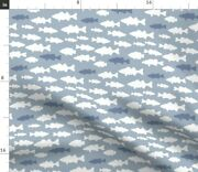 Fish Blue Bass Woodland Outdoors Fishing Spoonflower Fabric By The Yard