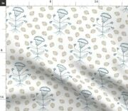 Vintage Blue Floral Nature Decor Beige Nursery Spoonflower Fabric By The Yard