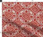 Red Holiday Christmas Tile Indian Turkey Red Spoonflower Fabric By The Yard