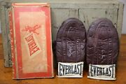 Vintage 1950's Everlast Leather Boxing Gloves Jack Dempsey With Box Model 5476