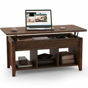 Solid Wood 2-tier Lift Up Coffee Table W/ Hidden Storageand Lower Shelf Functional