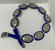 Vtg. Southwestern Blue Leather And Metal Disc Concho Belt Size Large Cowgirls