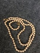 Classy Vtg. Kjl Kenneth Jay Lane Faux Pearl Gold Tone Clasp Necklace