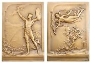 A285 France And Greece 1906 Br Art Nouveau Plaque Medal Athens Olympic Games