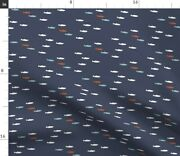 Fish Cute Bass Fishing Fish Blue Navy Spoonflower Fabric By The Yard