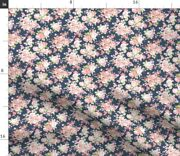 Navy Blush Floral Nursery Flowers Vintage Spoonflower Fabric By The Yard