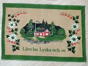Vintage Swedish Wall Hanging - Country Cottage Stuga Flowers - Jute Material
