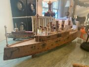 36 1882 W. S. Reed Wooden Battleship Boat Columbia Pull Toy Not Complete