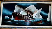 Vintage Reverse Painting On Glass Titanic Hitting Iceberg Framed 33.5andrdquo By 17.5andrdquo