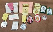 Vintage Catholic Medals And Charms And Sacred Heart Lot