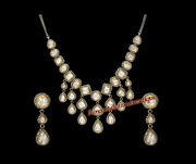 Hand-made Estate 8.92ct Antique Rose Cut Diamond Silver Polki Party Necklace Set
