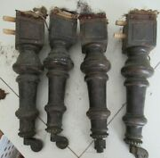 4 Antique Salvage Victorian 8-13andrdquo Wood Couch Stool Table Legs Repurposed