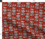 Asian Red Chinese Toile Chinoiserie Turkey Red Spoonflower Fabric By The Yard