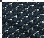 Bull Skulls Blue Cow Monochrome Painting Dead Spoonflower Fabric By The Yard