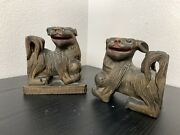 2 Antique Chinese Foo Dogs Sculpture Wood Carving Vintage Bookends 1