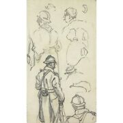 Lucien Ott 1870-1927 Antique French Drawing Figure Sketch Wwi Front Soldiers