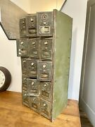 Antique Us Post Office Box Metal Cabinet Combination Lock 15 Vintage Mail Boxes