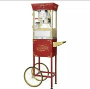 Great Northern Popcorn Red Matinee Style Popcorn Popper With Cart, 8 Ounce