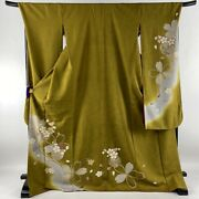 Furisode Near Mint Excellent Quality Cherry Blossoms Gold Thread Yamabuki Br...