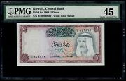 Kuwait 1 Dinar 1968 Pick 8a Pmg 45 Choice Extremely Fine.