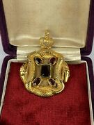 Antique Imperial Russian Faberge 84 Silver Gold Garnets Snake And Crown Pendant