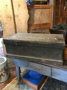 19th C. Painted Decorated Tool Chest With Raised Panel Lid And Interior Tills