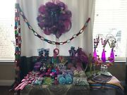 Christmas In A Box Mardi Gras/candyland Deco Mesh Wreath And Ornament Collection