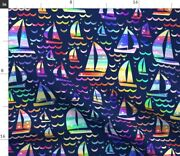 Stars Waves Ship Watercolor Nautical Boat Spoonflower Fabric By The Yard