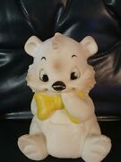 Vintage Sanitoy White Bear Yellow Bowtie Squeaks Rubber Toy 1960and039s