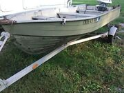 12 Foot Aluminum Boat And Trailer With Evinrude Motor Sold As A Parts Vehicle